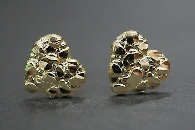 - Real 10K Solid Yellow Gold Beautiful 11MM Heart Nugget Stud Earrings.