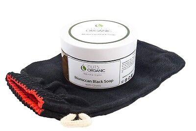 Moroccan hammam duo, Black soap (savon noir) 220g & kessa exfoliating glove