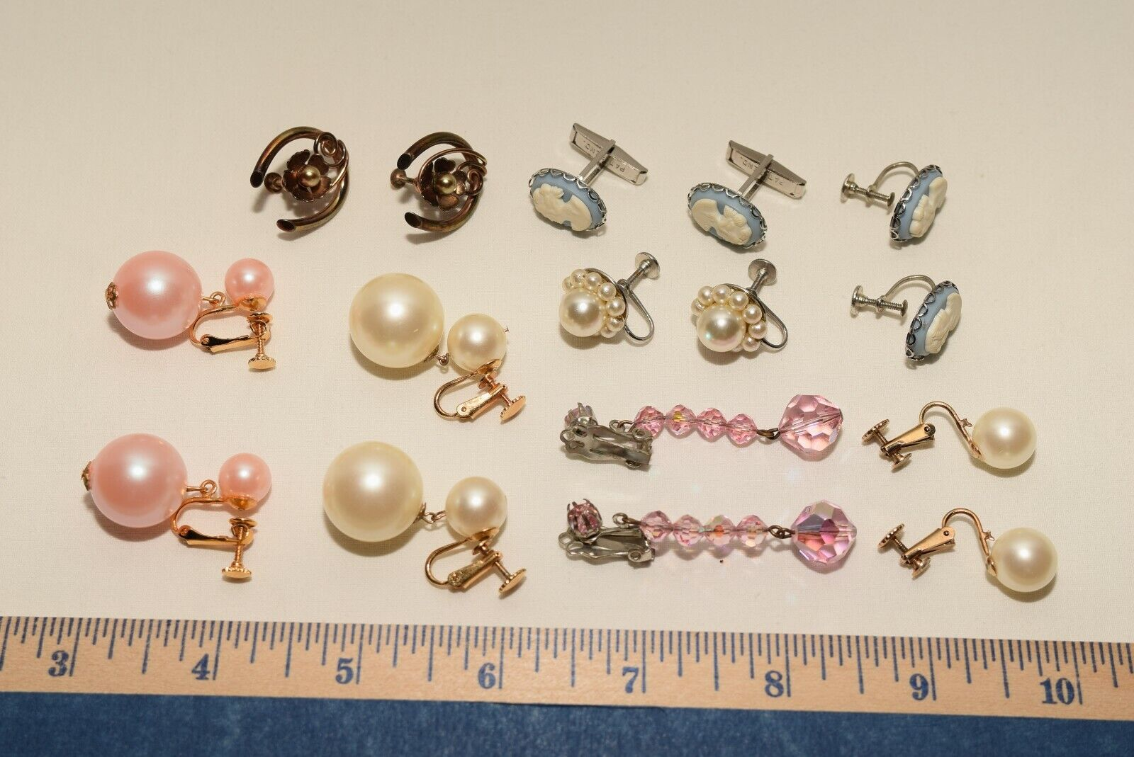 Vintage Lot Of 7 Clip-On Earrings Faux Pearls Screw Backs One With Cufflinks - $17.75