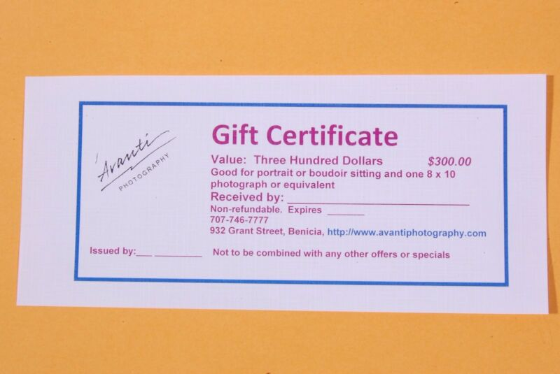 $300. GIFT CERTIFICATE for Boudoir Photography by Avanti Photography SAVE 30%