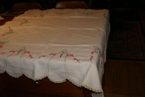 """Vintage Linen Table Topper hand embroidered 42"""" X 43"""" SCALLOPED EDGES LACE"""