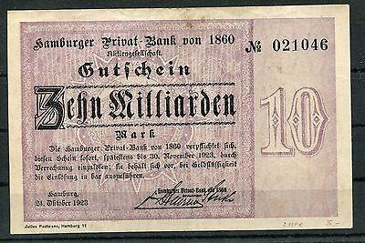 Hamburg Privat - Bank von 1860 10 Milliarden Mark Notgeld vom 24.10.1923