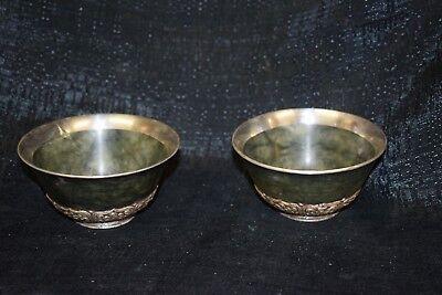 Paar Jade-Schale, Teeschale, China/Tibet,Silber montiert,8 buddhist,Symb.,D10cm