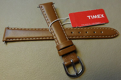 (Womens Timex Brown Padded Genuine Calf 14mm Watch Band Silver Tone Buckle     )