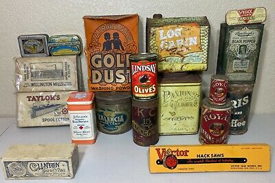Vintage Merchandise Advertising Tins Packages - 18 PIECES