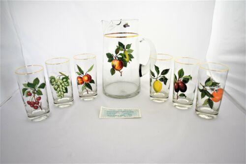 Vintage West Virginia Glass Company  Fruit Pitcher & 6 Juice Glasses Tumbler