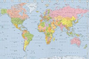 Wall atlas ebay laminated world map political atlas wall poster latest brand new gumiabroncs Gallery