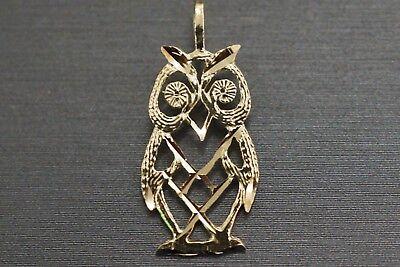 14k Gold Owl Pendant (14K Solid Yellow Gold Beautiful Diamond Cut Flat Owl Charm Pendant. )