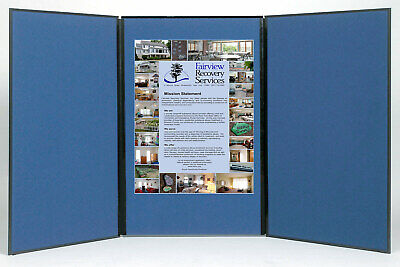 Folding 3 Panel 70 X 36 Blue Tabletop Display For Use Wfriction Fit V Tape