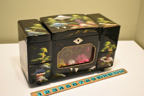 Vintage Asian Oriental Japanese Black Lacquered Musical Jewelry Box w/Rickshaw