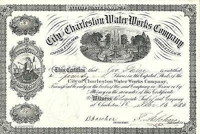SOUTH CAROLINA 1880 City of Charleston Water Works Company Stock Certificate #36