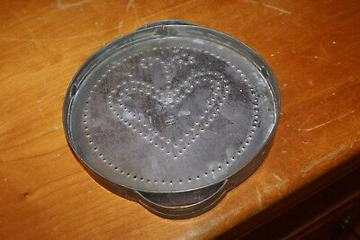 PEWTER Pillar Candle Holder Plate W/ Raised Hammered HEART 6