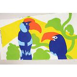 "Maija Isola 1972 ""PEPE"" Birds Fabric Panel 28X54 Marimekko Oy Suomi Finland RARE"