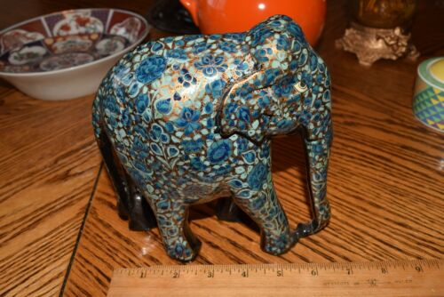 Vintage Handpainted Carved Wood Elephant Colorful Painted Incredible Details