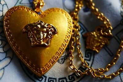 100% Authentic VERSACE Necklace HEAD of Medusa  Gold Tone metal 💔