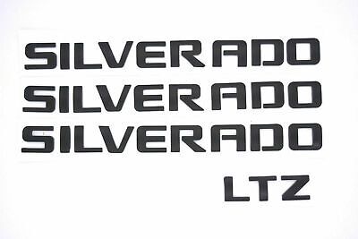 4PCS Matte Black SILVERADO & LTZ Emblem Badges for Chevrolet 1500 2500HD