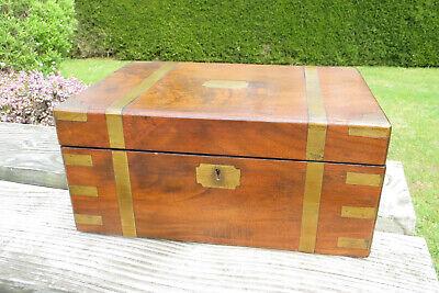 Antique Victorian Mahogany Brass Bound Writing Box/Slope - Secret Drawers