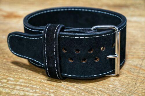Pioneer Cut Suede 1 prong 10mm x 4 inch Powerlifting Belt - Black Suede