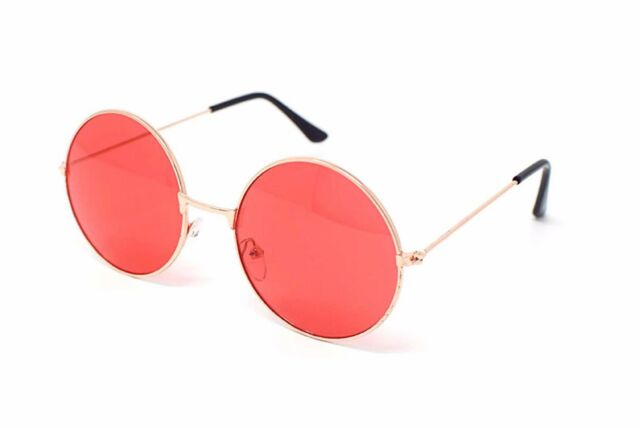quality sunglasses 55gs  Red Lens John Lennon Style Vintage Style UV400 Sunglasses UVB Quality  Glasses