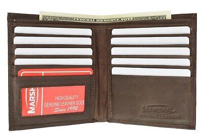 - Mens Genuine Leather Bifold Wallet Slim Hipster Cowhide Credit Card ID New Brown