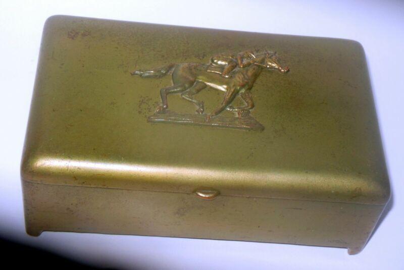 Vtg CIgarette Tobacco Box Brass JB Jennings Bros HORSE JOCKEY equestrian