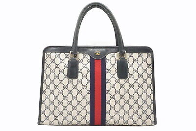 GUCCI Vintage Hand Tote Bag GG Sherry Line Accessory Collection PVC Navy 2460h