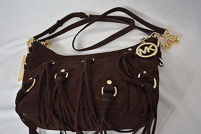 Presley Brown Leather - NWT Michael Kors Presley Suede Fringe Medium Shoulder Bag in Coffee Brown