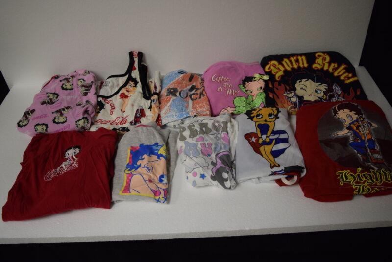 Lot of 10 Betty Boop Tee Shirts & Tank Tops - Coke - Love - Born Wild - Cuba