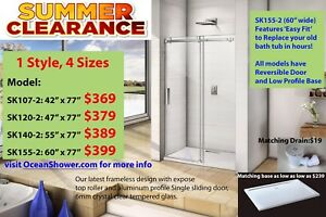 Popular Frameless Sliding Glass Shower Enclosure Clearance Sale