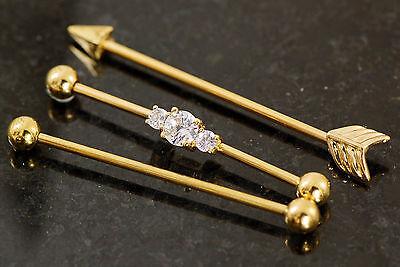 3 Pc Gold Plated C.Z. Arrow, Plain Industrial Barbells, Cartilage 14g - Gold Industrial Barbells