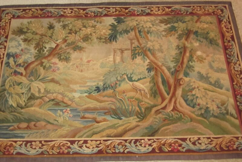 Antique French aubusson tapestry .