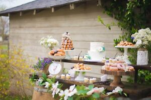 Beautiful wooden and metal cake stands for rent