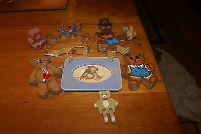 COLLECTION OF 9 Small Wooden Teddy Bear Figures Hand Painted Vintage see Picture