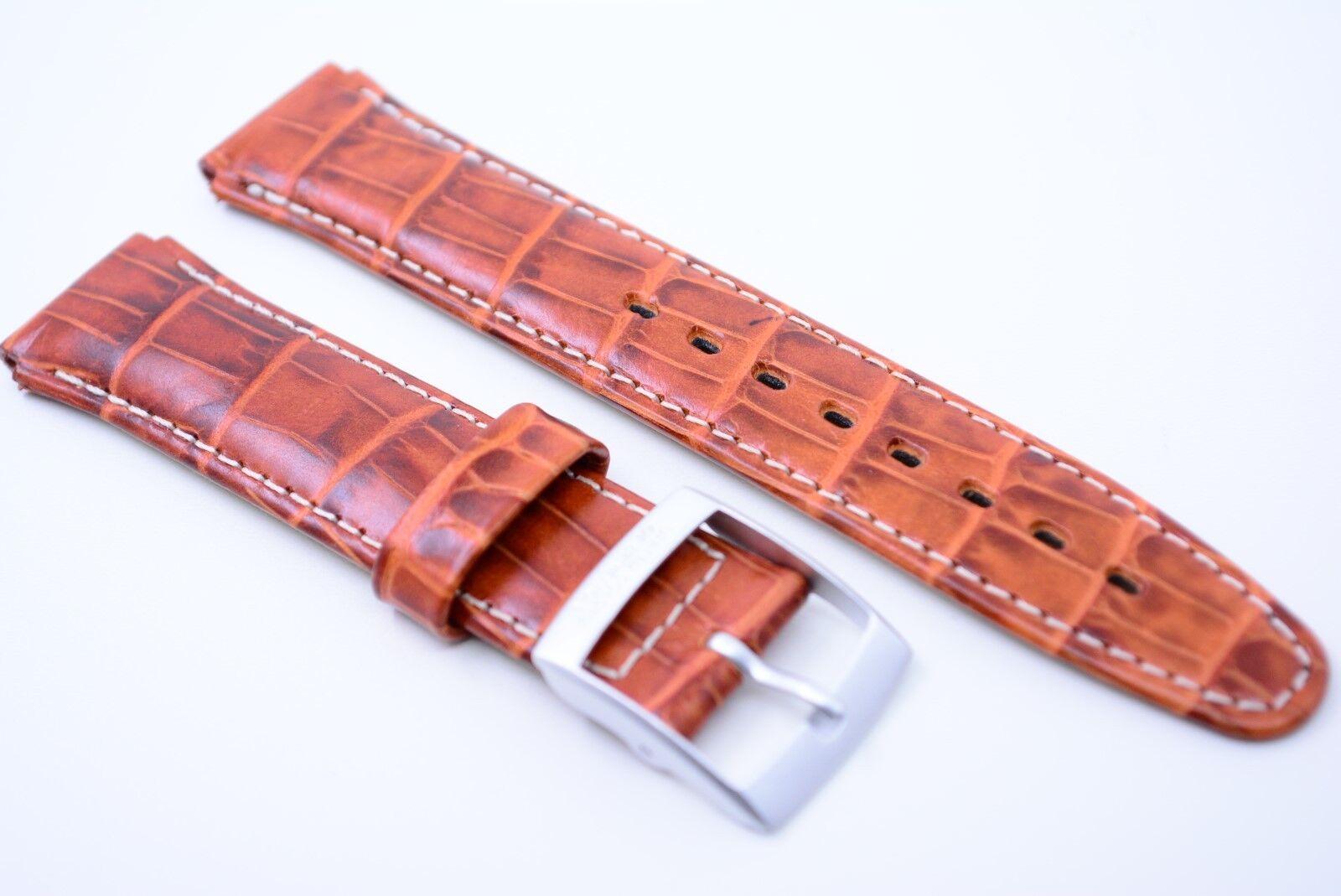 UNITED COLORS OF BENETTON Uhrenarmband Echtleder Bracelet 17 mm Braun Kroko