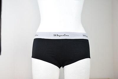 Damen Panty Slip Unterwäsche - Gr. M  - schwarz m. grauen Band - Band Panty