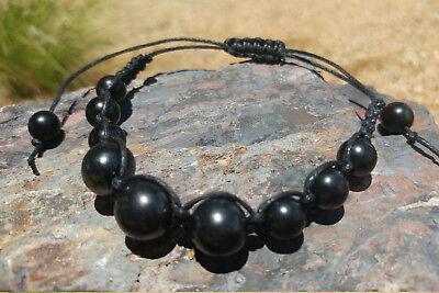 - Shungite Bracelet - Polished Beads - Macrame Woven - Adjustable Black Cord - EMF