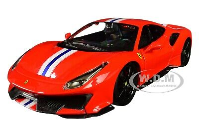 FERRARI 488 PISTA RED WITH STRIPES 1/24 DIECAST MODEL CAR BY BBURAGO 26026
