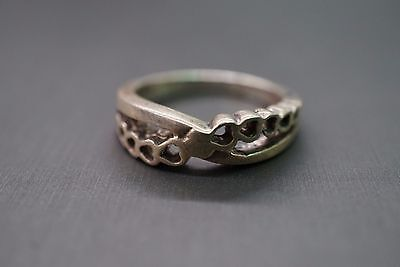 Size 8 Vintage Sterling Silver Heart Infinity 925 Band Ring!! (#2273)