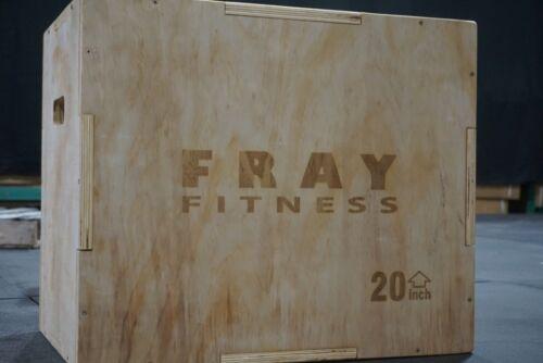 """Fray Fitness 3 in 1 Wood Plyo Box 16/20/24 16"""" 20"""" 24"""" Plyometrics Jump Box"""