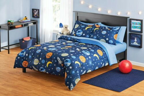 Planets Outer Space 5 Piece Bed-in-a-Bag Blue Coordinating Bedding Set Twin XL