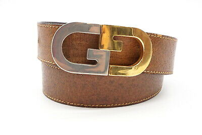 Old GUCCI Vintage Waist Belt GG Silver Gold Buckle Leather Brown 3140k