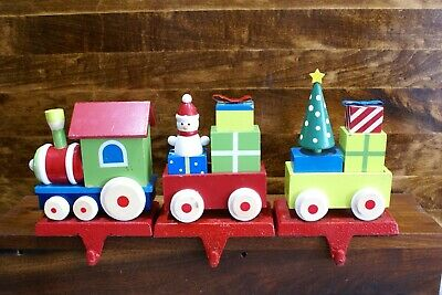 Christmas Stocking Holder Hanger 3 Piece Train Set Wood on Cast Iron Holiday Set