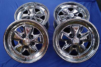 "16' Genuine Porsche Fuchs Factory OEM CHROME Wheels 7&8 x16"" Rims Caps"
