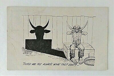 'Black Americana Postcard~THINGS ARE NOT ALWAYS WHAT THEY SEEM~Boy & Watermelon