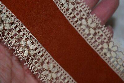 "Vintage Rust Velvet Ribbon with Lace Edge Trim 6 Yards x 2 7/8"""