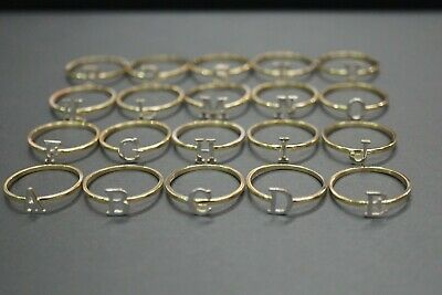 10K Solid Yellow Gold Two Tone Initial Fancy Stacked layered Rings. Size -