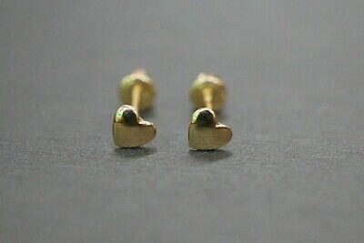 14K Solid Yellow Gold 3.5MM Tiny Small Polished Heart Scew Back Earrings. 14k Gold Small Heart