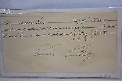 Authentic 1927 President Calvin Coolidge commission Cutout autograph Guaranteed