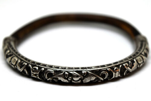 Antique Chinese Sterling Silver and Bamboo Bat Bracelet/Bangle