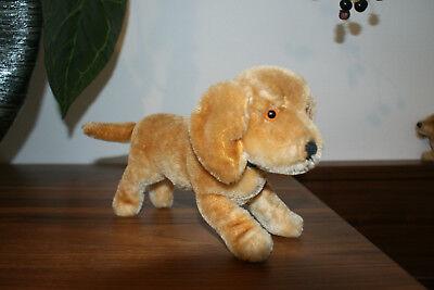Steiff Hund DOG Bazi Jungdackel DACHSHUND PUPPY stehend, Knopf wie 1314, 14 cm